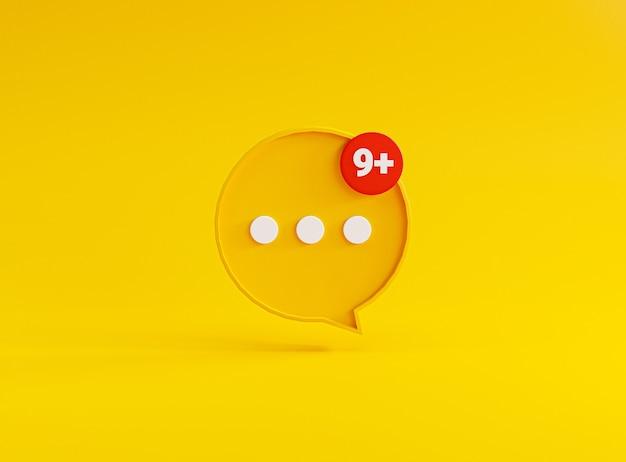 Illustrazione del punto bianco all'interno del fumetto giallo su sfondo giallo per sms di chat e messaggio di commento tramite rendering 3d.