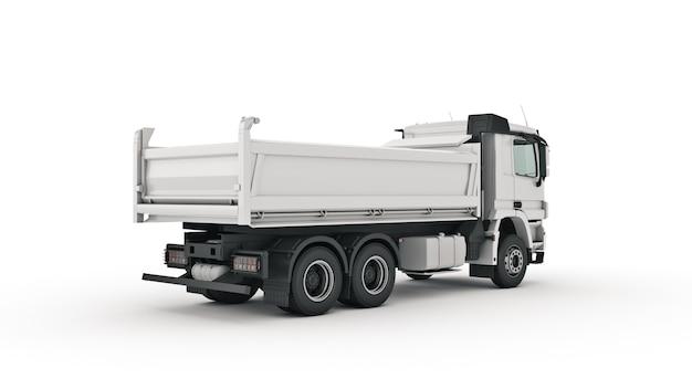 Rendering 3d di camion con cassone ribaltabile bianco