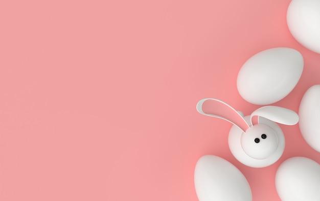 Uova di pasqua bianche con coniglio. buona pasqua grande caccia o banner di vendita