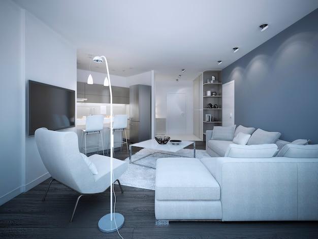 Elegante monolocale bianco con pareti blu e bianche con divano ad angolo e piccola cucina