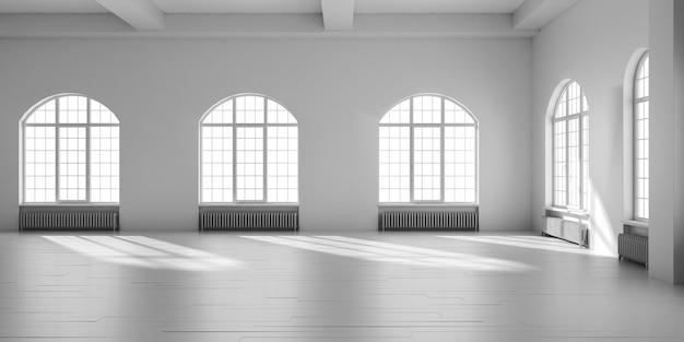 L'interno 3d del sottotetto vuoto bianco rende l'illustrazione