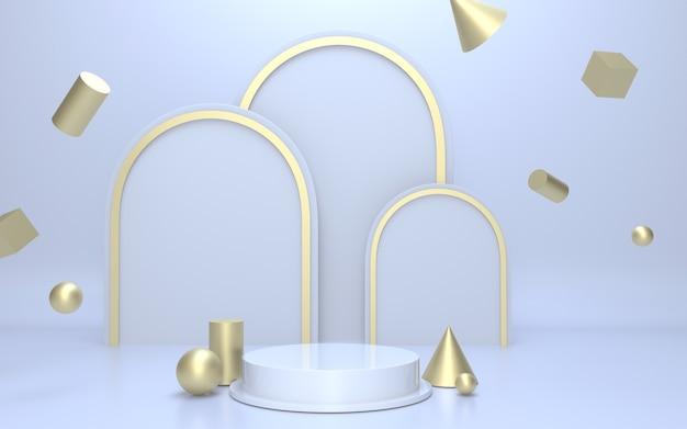 Palco podio vuoto bianco per la visualizzazione del prodotto con sfondo oggetto geometrico