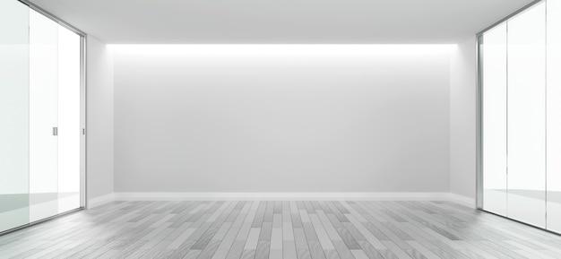 Spazio bianco della copia di progettazione della stanza vuota con il rendering 3d del pavimento in legno
