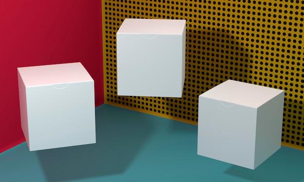 Scatole di cartone semplicistiche vuote bianche con le ombre