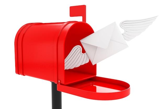 Lettera busta bianca con ala che vola alla cassetta postale rossa su sfondo bianco. rendering 3d