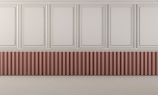 Pavimento bianco e decorazione elegante bianca con sfondo con motivo a parete spogliato rosso