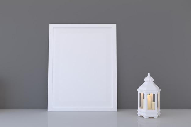 Mockup di cornice bianca con lanterna