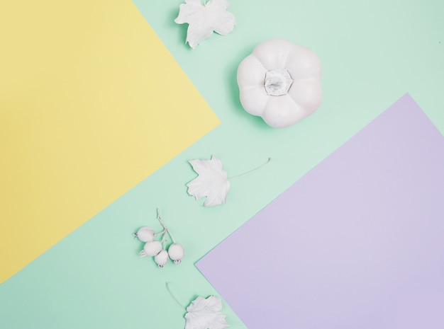 Mockup di cornice bianca con zucca, bacche e foglie