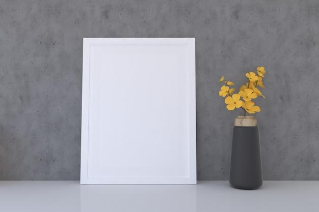 Mockup cornice bianca con vaso di fiori gialli yellow