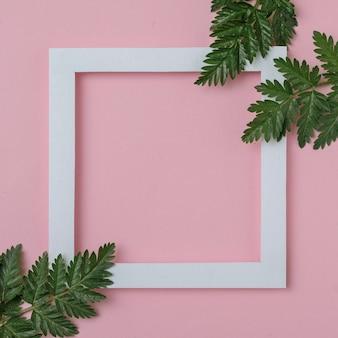 Cornice bianca con copia spazio e rami di piante verdi su sfondo rosa - erba biologica naturale con cornice elegante - biglietto d'invito rustico con rami verdi - concetto minimo