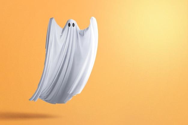 Fantasma bianco che infesta con uno sfondo colorato. concetto di halloween