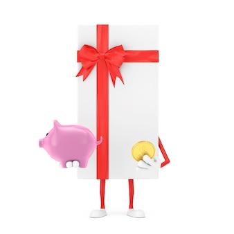 Scatola regalo bianca e mascotte del personaggio del nastro rosso con salvadanaio e moneta del dollaro d'oro su sfondo bianco. rendering 3d