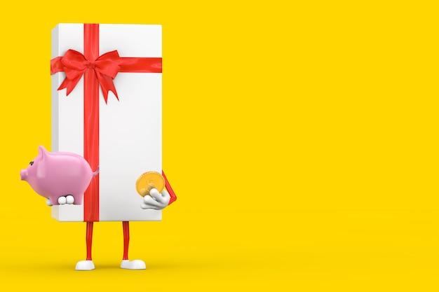 Confezione regalo bianca e mascotte del personaggio con nastro rosso con salvadanaio e moneta da un dollaro d'oro su sfondo giallo. rendering 3d