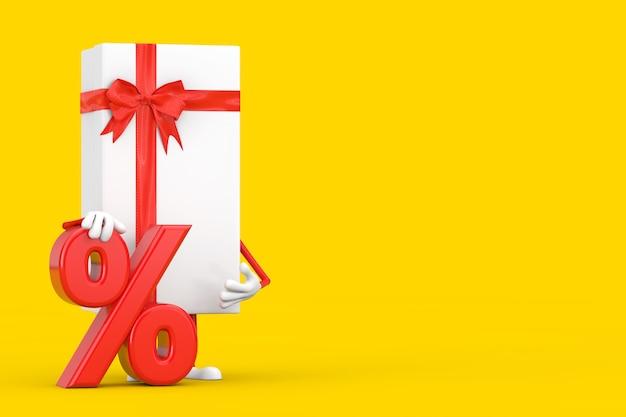 Scatola regalo bianca e mascotte del personaggio del nastro rosso con il segno di sconto o di vendita al dettaglio rosso su sfondo giallo. rendering 3d