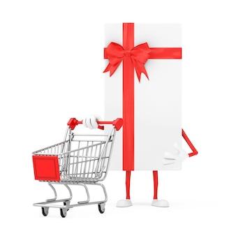 Contenitore di regalo bianco e mascotte rossa del carattere del nastro con il carrello del carrello su un fondo bianco. rendering 3d
