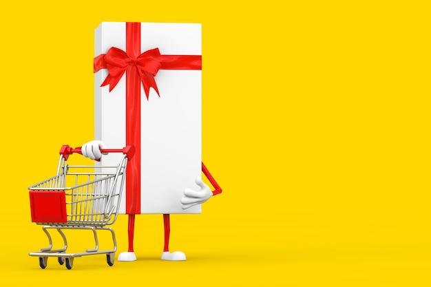 Scatola regalo bianca e mascotte personaggio nastro rosso con carrello carrello su sfondo giallo. rendering 3d