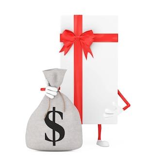 Scatola regalo bianca e mascotte del carattere del nastro rosso con il sacco dei soldi della tela di tela rustica legata o la borsa dei soldi e il segno del dollaro su un fondo bianco. rendering 3d