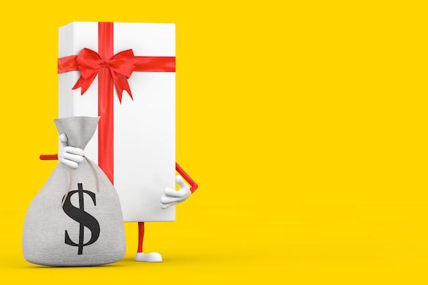 Scatola regalo bianca e mascotte personaggio nastro rosso con sacco di soldi in tela rustica legata o sacco di soldi e simbolo del dollaro su sfondo giallo. rendering 3d