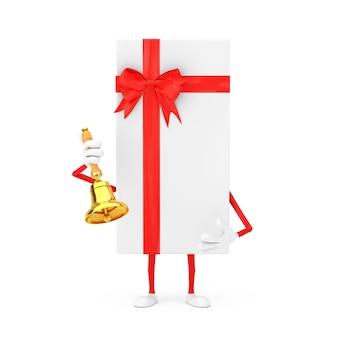 Scatola regalo bianca e mascotte rossa del carattere del nastro con la campana dorata d'annata della scuola su un fondo bianco. rendering 3d