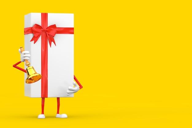 Scatola regalo bianca e mascotte del personaggio del nastro rosso con campana della scuola dorata vintage su sfondo giallo. rendering 3d