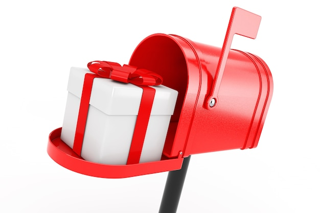 Confezione regalo bianca con nastro rosso nella cassetta postale rossa su sfondo bianco. rendering 3d