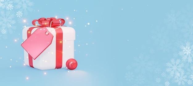 Un regalo bianco con un fiocco rosso con un'etichetta vuota un biglietto di auguri di capodanno 3d rendering