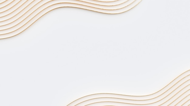 Rendering 3d di sfondo astratto sfondo bianco e oro