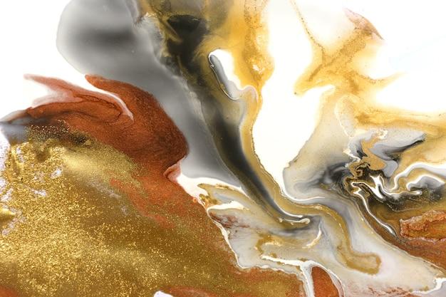 Trama astratta in marmo con motivo a onde nere e rame in oro bianco con particelle d'oro