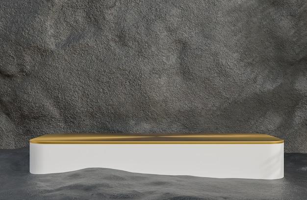 Podio bianco e oro per la presentazione del prodotto sullo stile di lusso del fondo del muro di pietra., modello 3d e illustrazione.