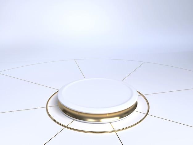 Fase di prodotto bianco e oro su sfondo bianco. piedistallo del prodotto. forma del cilindro. rendering 3d.