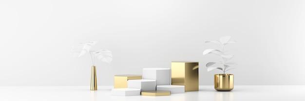 Podio della piattaforma del palco bianco e oro per la visualizzazione di prodotti pubblicitari con rendering di sfondo 3d di piante