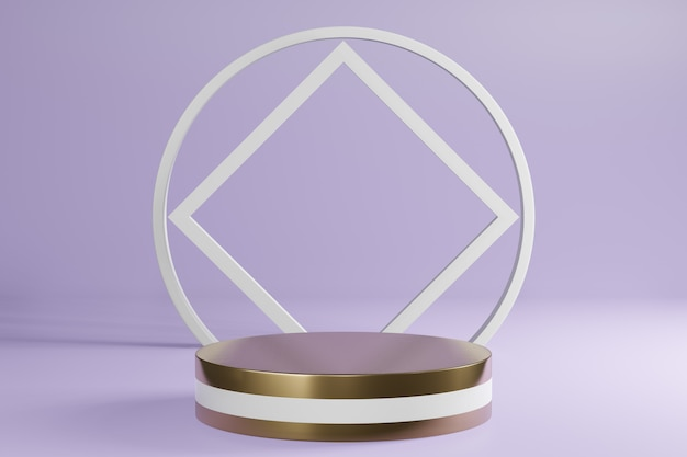 Il prodotto a cilindro bianco e dorato si trova su viola, display del podio del piedistallo, rendering 3d.