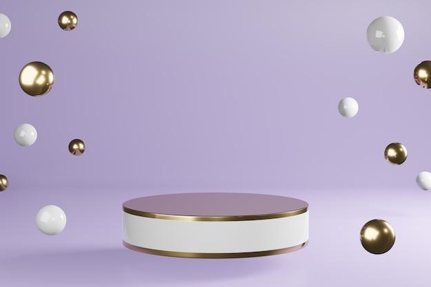 Supporto prodotto cilindro bianco e dorato con decoro su podio viola, piedistallo, rendering 3d.