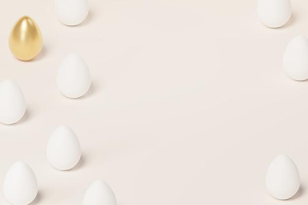 Uova di pasqua bianche e dorate, spazio della copia