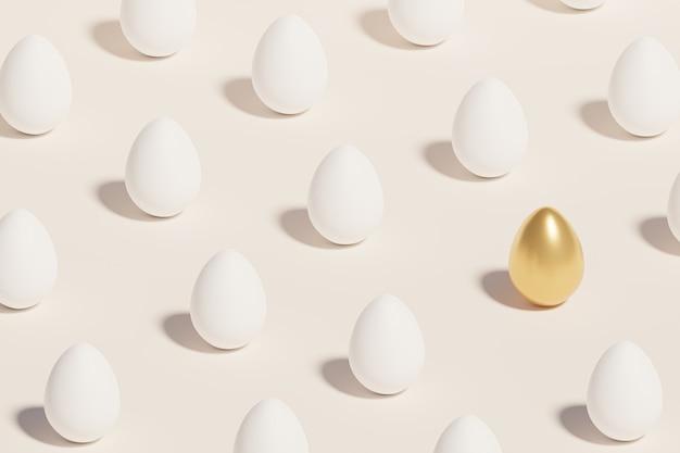 Uova di pasqua bianche e dorate