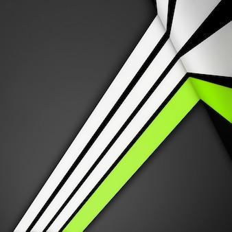 Strisce dritte bianche e verdi su sfondo grigio. linee del modello 3d design moderno, prospettiva di forme geometriche a strisce