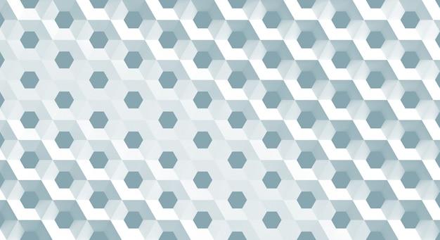 La griglia bianca delle cellule sotto forma di favi esagonali con diametro differente, illustrazione 3d