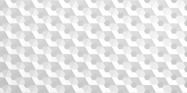 La griglia bianca di celle a forma di favi esagonali di diverso diametro, che vanno dal più grande al più piccolo e al contrario. illustrazione 3d