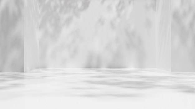 Muro vuoto di lerciume bianco con l'ombra delle foglie Foto Premium