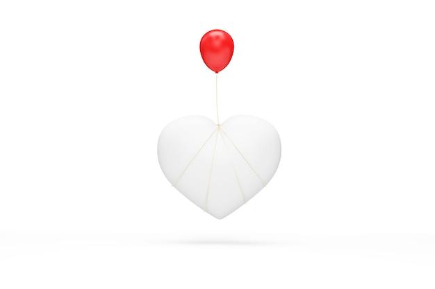 Simbolo del cuore bianco con palloncino rosso su bianco