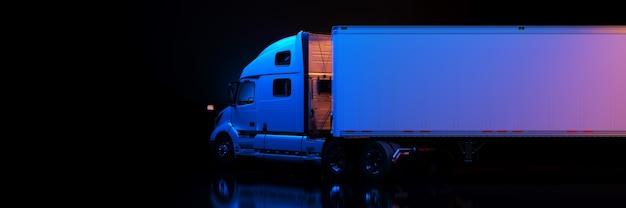 Rendering 3d di camion pesanti bianchi
