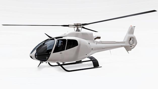 Elicottero bianco isolato sulla superficie bianca