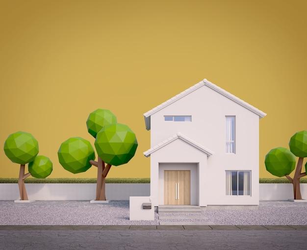 Esterno della casa bianca finestra per tetto a due spioventi e alberi bassi in poli con sfondo giallo