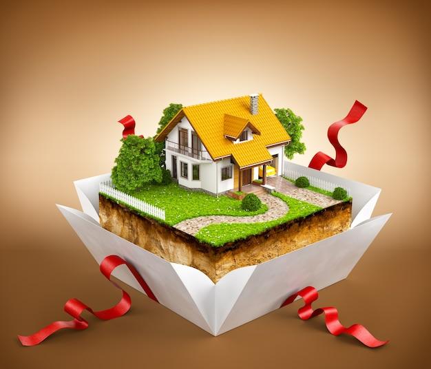 Casa bianca su un pezzo di terra con giardino e alberi una confezione regalo