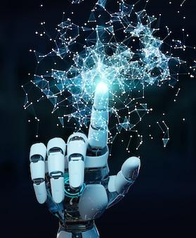 Mano umanoide bianca facendo uso della rappresentazione digitale dell'interfaccia 3d del hud del globo