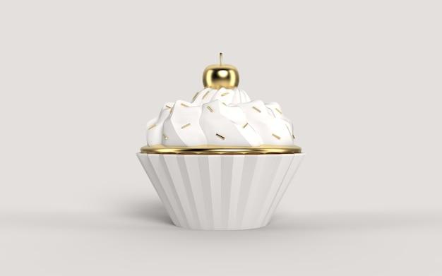 Gelato bianco con strisce dorate di lusso e ciliegia su un muffin al cioccolato dorato