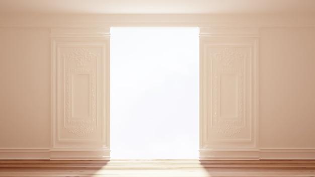 Porta interna bianca. illustrazione 3d, rendering 3d.