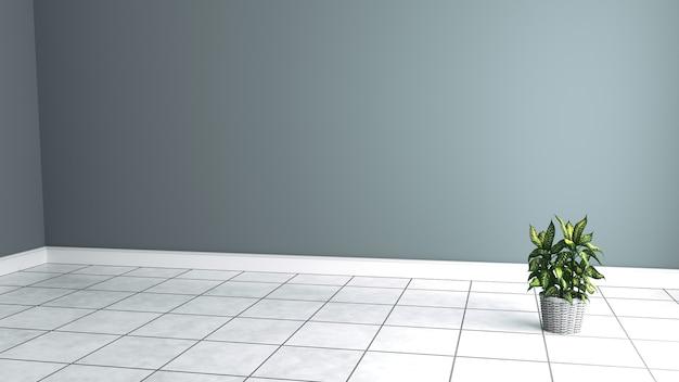 Interno bianco con pianta rendering 3d