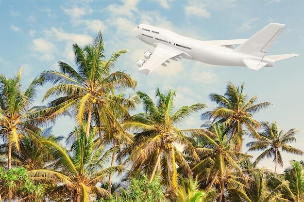 Aereo del passeggero del getto bianco che sorvola le palme tropicali sul fondo del cielo blu. rendering 3d.