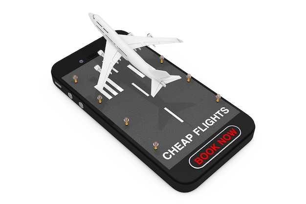 Decollo dell'aeroplano del passeggero del jet bianco dal telefono cellulare con pista, segno di voli economici e pulsante prenota ora su sfondo bianco. rendering 3d